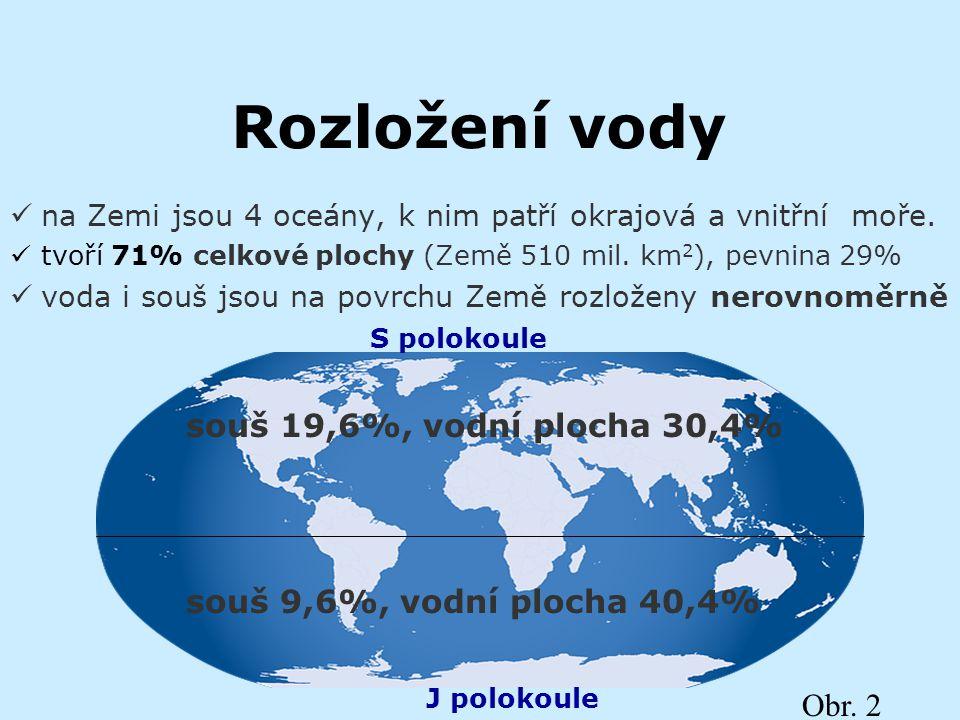 Rozložení vody na Zemi jsou 4 oceány, k nim patří okrajová a vnitřní moře. tvoří 71% celkové plochy (Země 510 mil. km 2 ), pevnina 29% voda i souš jso
