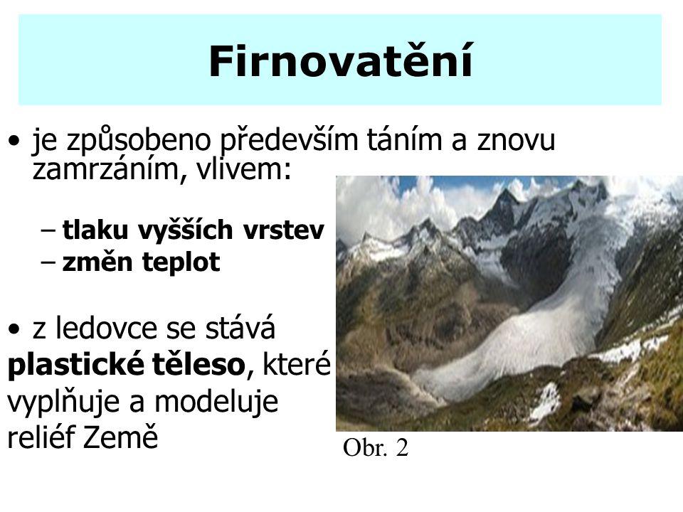 Firnovatění je způsobeno především táním a znovu zamrzáním, vlivem: –tlaku vyšších vrstev –změn teplot z ledovce se stává plastické těleso, které vypl