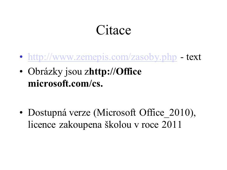 Citace http://www.zemepis.com/zasoby.php - texthttp://www.zemepis.com/zasoby.php Obrázky jsou zhttp://Office microsoft.com/cs. Dostupná verze (Microso