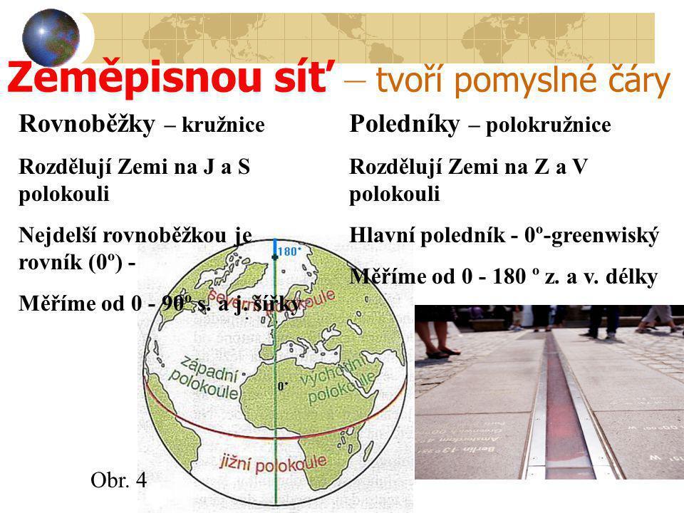 Zeměpisnou síť – tvoří pomyslné čáry Rovnoběžky – kružnice Rozdělují Zemi na J a S polokouli Nejdelší rovnoběžkou je rovník (0º) - Měříme od 0 - 90º s.