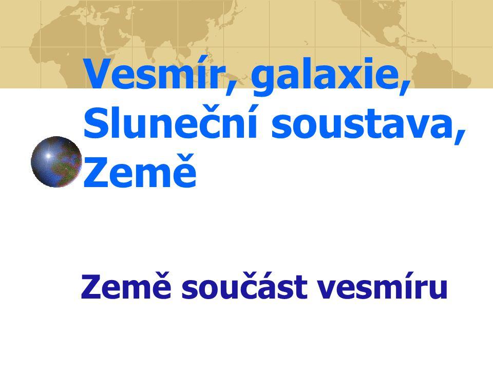 Vesmír, galaxie, Sluneční soustava, Země Země součást vesmíru