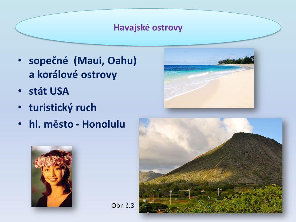 sopečné (Maui, Oahu) a korálové ostrovy stát USA turistický ruch hl. město - Honolulu Havajské ostrovy Obr. č.8