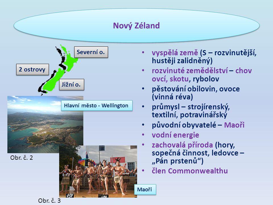 """vyspělá země (S – rozvinutější, hustěji zalidněný) rozvinuté zemědělství – chov ovcí, skotu, rybolov pěstování obilovin, ovoce (vinná réva) průmysl – strojírenský, textilní, potravinářský původní obyvatelé – Maoři vodní energie zachovalá příroda (hory, sopečná činnost, ledovce – """"Pán prstenů ) člen Commonwealthu Nový Zéland 2 ostrovy Severní o."""