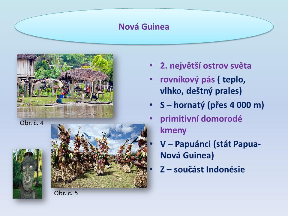 2. největší ostrov světa rovníkový pás ( teplo, vlhko, deštný prales) S – hornatý (přes 4 000 m) primitivní domorodé kmeny V – Papuánci (stát Papua- N