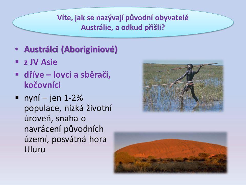 Austrálci (Aboriginiové) Austrálci (Aboriginiové)  z JV Asie  dříve – lovci a sběrači, kočovníci  nyní – jen 1-2% populace, nízká životní úroveň, s