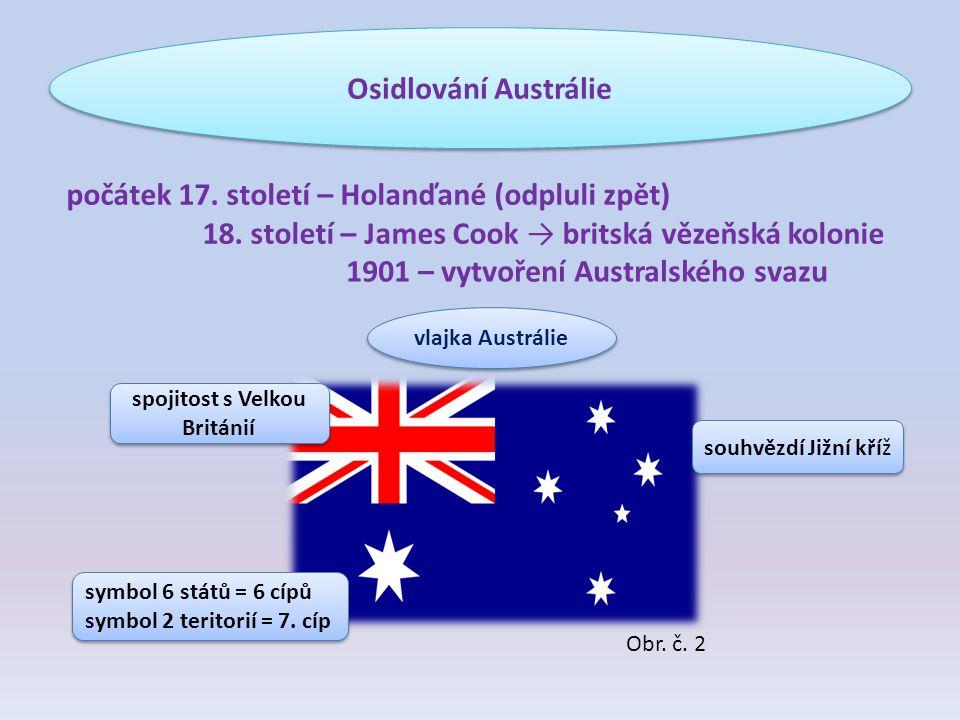 Osidlování Austrálie počátek 17. století – Holanďané (odpluli zpět) 18. století – James Cook → britská vězeňská kolonie 1901 – vytvoření Australského