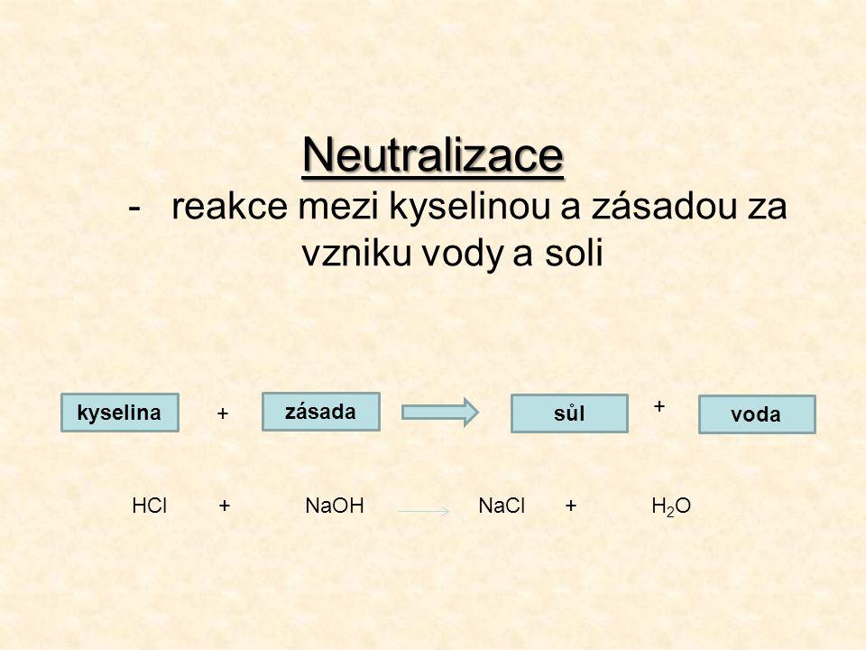 Neutralizace -reakce mezi kyselinou a zásadou za vzniku vody a soli kyselina zásada sůl voda + + HCl+NaOHNaCl+H 2 O