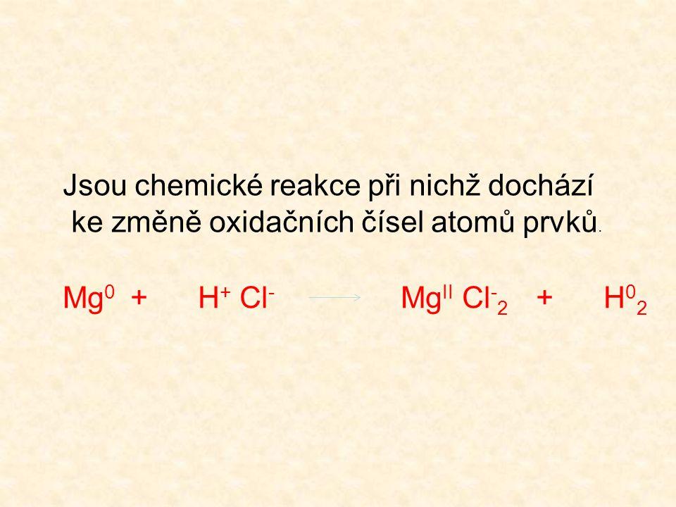 Jsou chemické reakce při nichž dochází ke změně oxidačních čísel atomů prvků. Mg 0 +H + Cl - Mg II Cl - 2 +H 0 2