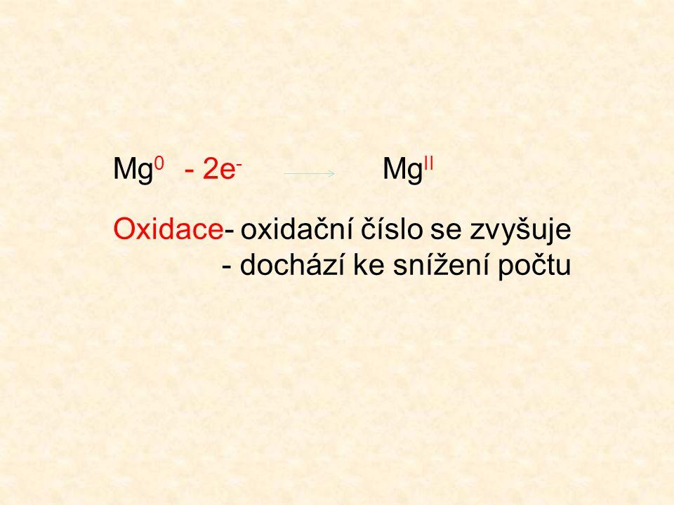 Mg 0 - 2e - Mg II Oxidace- oxidační číslo se zvyšuje - dochází ke snížení počtu