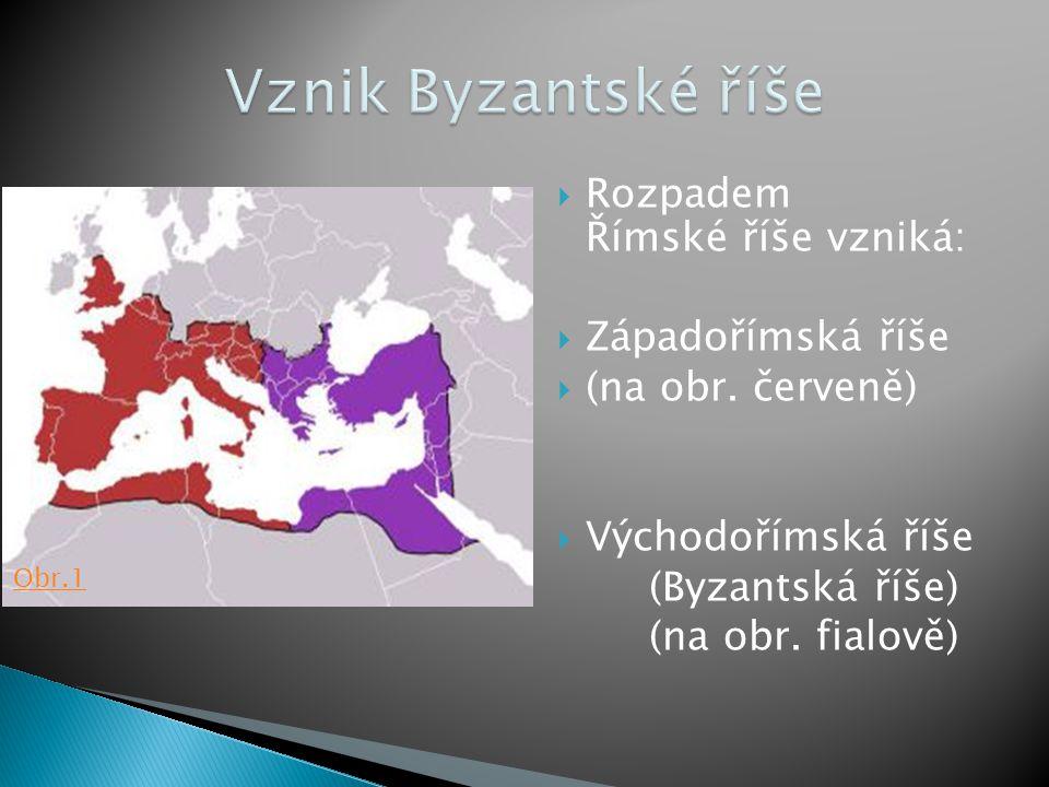  Rozpadem Římské říše vzniká:  Západořímská říše  (na obr. červeně)  Východořímská říše (Byzantská říše) (na obr. fialově) Obr.1