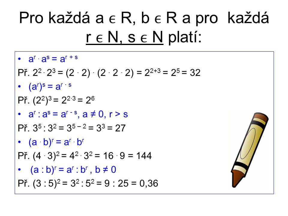 Pro každá a R, b R a pro každá r N, s N platí: a r.
