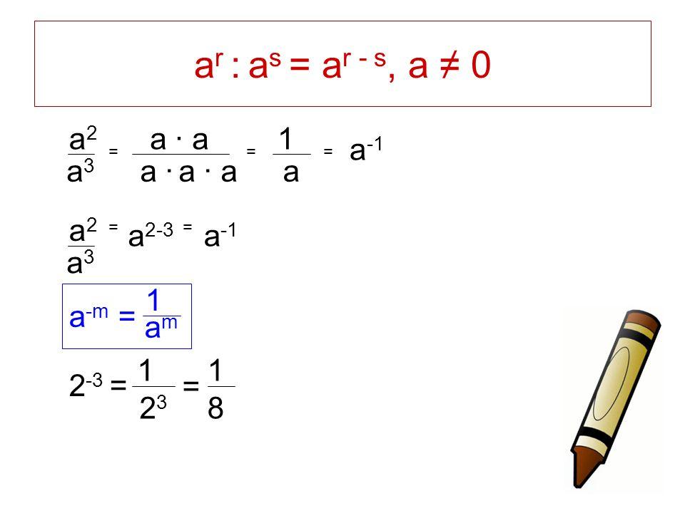 a r : a s = a r - s, a ≠ 0 a · a · a a2a2 a3a3 = a · a = 1 a = a -1 a -m = 1 amam 2 -3 = 1 2323 1 8 = == a2a2 a3a3 a -1 a 2-3