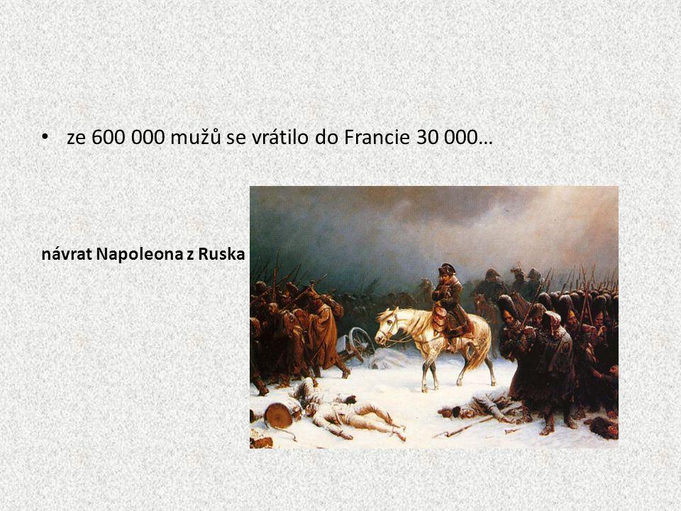 1813 - bitva u Lipska třídenní bitva národů Francie x Prusko, Rakousko, Rusko, Švédsko vítězství protifrancouzské koalice jaro 1814 - kapitulace Francie Napoleon se vzdal trůnu poslán na ostrov Elba návrat Bourbona Ludvíka XVIII.