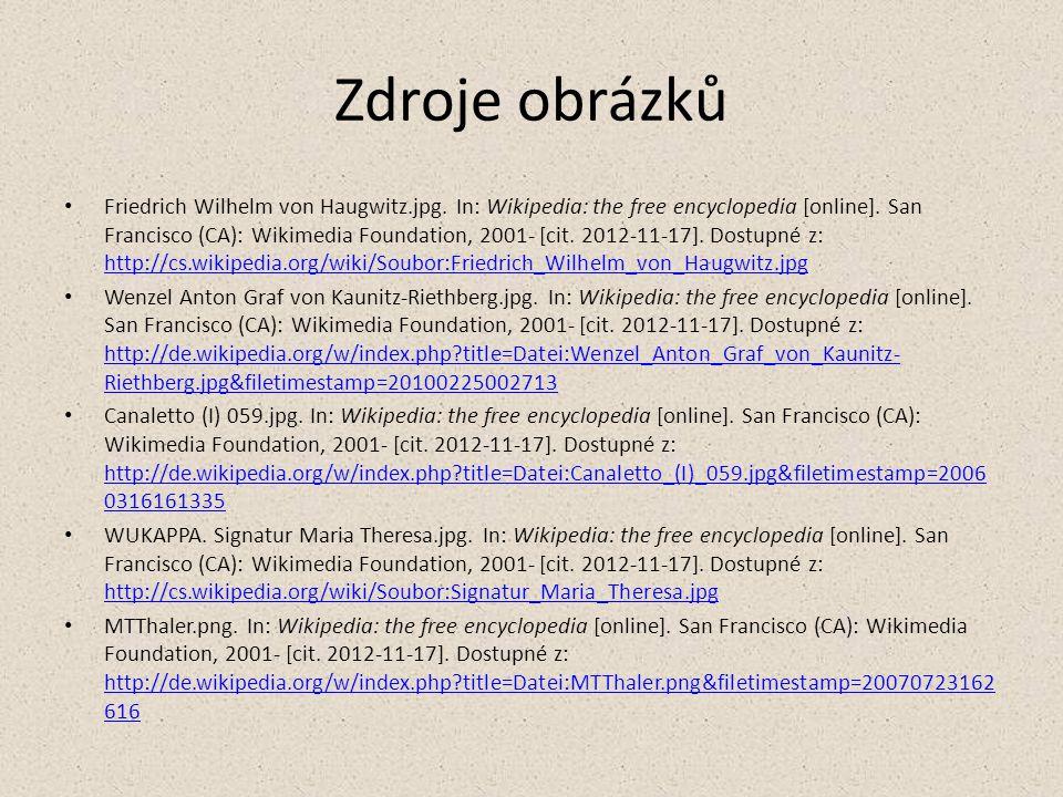 Zdroje obrázků Friedrich Wilhelm von Haugwitz.jpg. In: Wikipedia: the free encyclopedia [online]. San Francisco (CA): Wikimedia Foundation, 2001- [cit