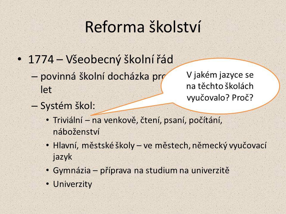 Reforma školství 1774 – Všeobecný školní řád – povinná školní docházka pro děti ve věku 6 – 12 let – Systém škol: Triviální – na venkově, čtení, psaní