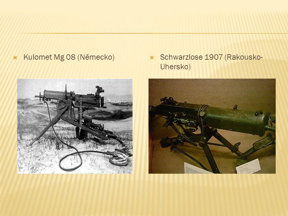  Kulomet Mg 08 (Německo)  Schwarzlose 1907 (Rakousko- Uhersko)