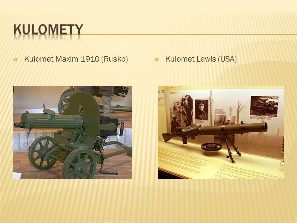  Kulomet Maxim 1910 (Rusko)  Kulomet Lewis (USA)