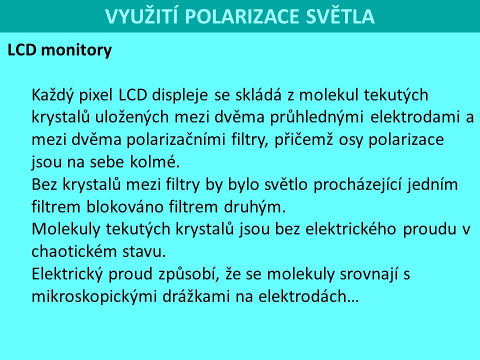 LCD monitory Každý pixel LCD displeje se skládá z molekul tekutých krystalů uložených mezi dvěma průhlednými elektrodami a mezi dvěma polarizačními fi