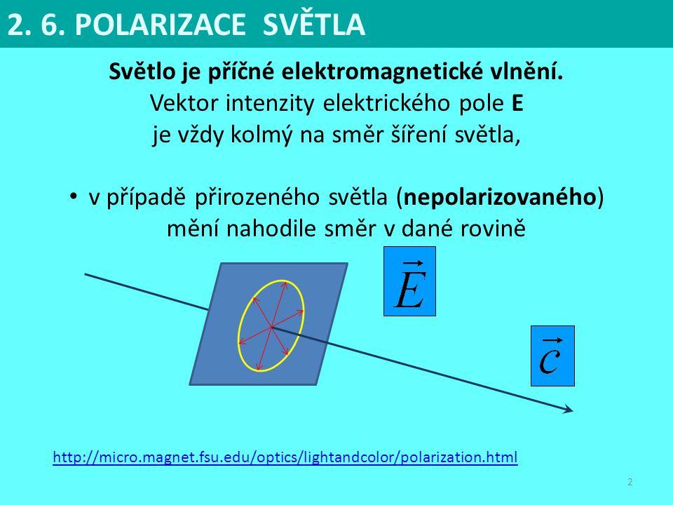 2 Světlo je příčné elektromagnetické vlnění. Vektor intenzity elektrického pole E je vždy kolmý na směr šíření světla, v případě přirozeného světla (n