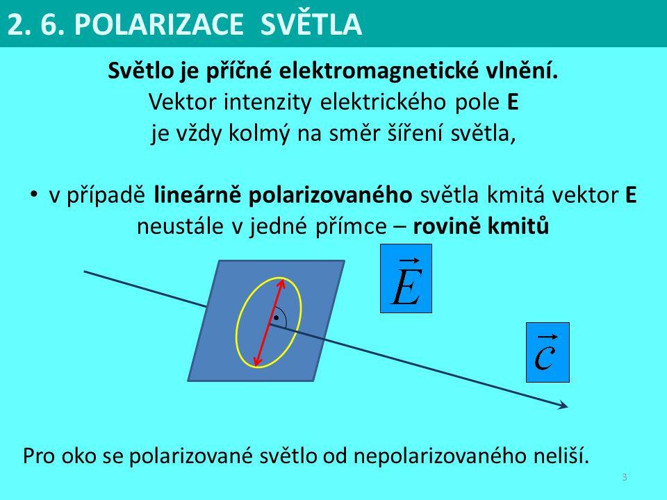 3 Světlo je příčné elektromagnetické vlnění. Vektor intenzity elektrického pole E je vždy kolmý na směr šíření světla, v případě lineárně polarizované