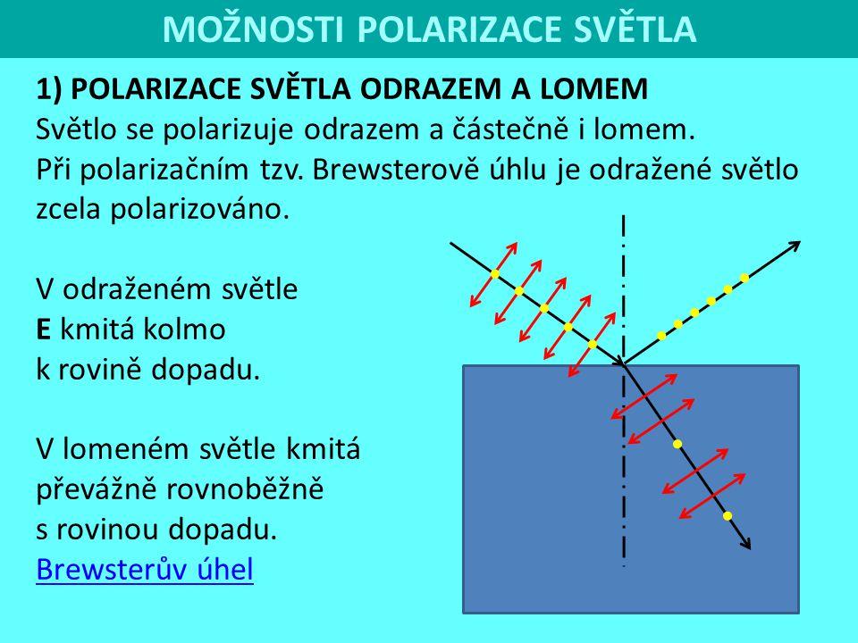 4 MOŽNOSTI POLARIZACE SVĚTLA 1) POLARIZACE SVĚTLA ODRAZEM A LOMEM Světlo se polarizuje odrazem a částečně i lomem. Při polarizačním tzv. Brewsterově ú