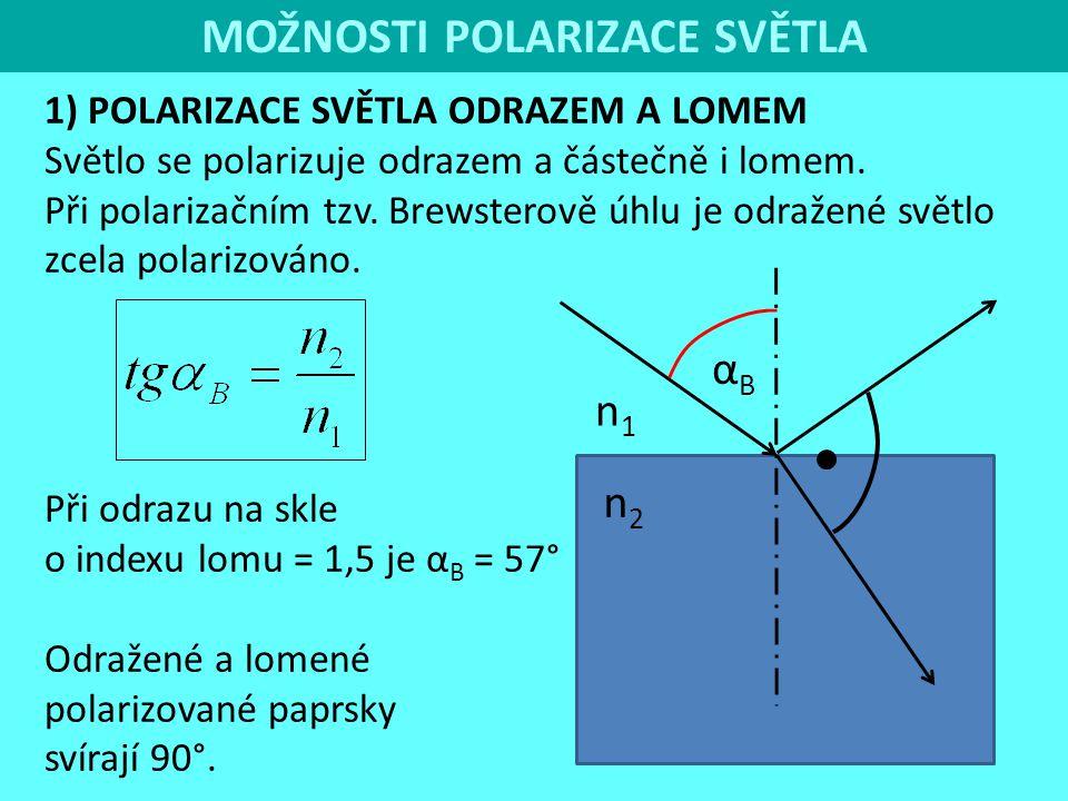 MOŽNOSTI POLARIZACE SVĚTLA 1) POLARIZACE SVĚTLA ODRAZEM A LOMEM Světlo se polarizuje odrazem a částečně i lomem. Při polarizačním tzv. Brewsterově úhl