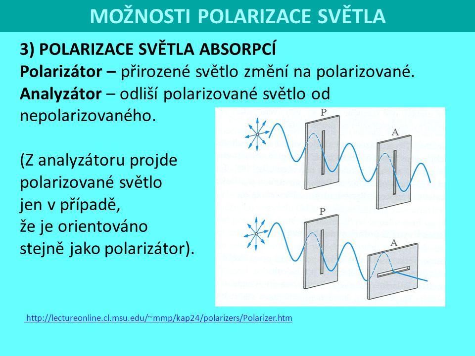 MOŽNOSTI POLARIZACE SVĚTLA 3) POLARIZACE SVĚTLA ABSORPCÍ Polarizátor – přirozené světlo změní na polarizované. Analyzátor – odliší polarizované světlo