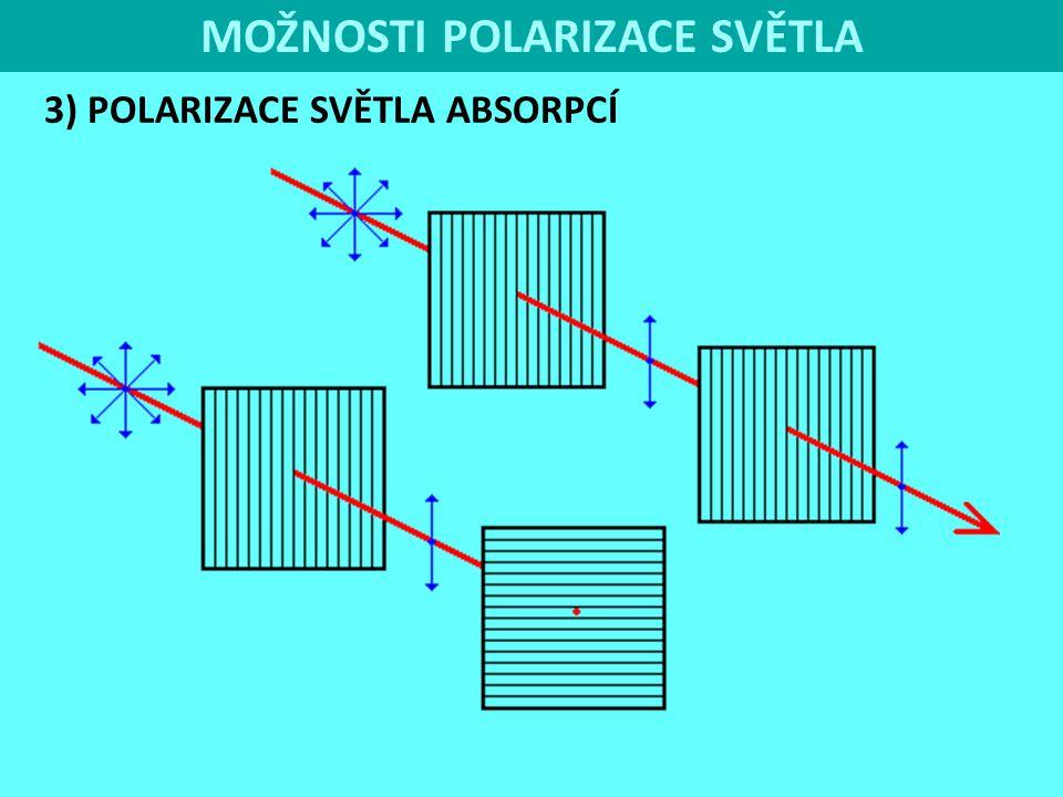 MOŽNOSTI POLARIZACE SVĚTLA 3) POLARIZACE SVĚTLA ABSORPCÍ Polaroid polarizační filtr využívaný v technické praxi k polarizaci.