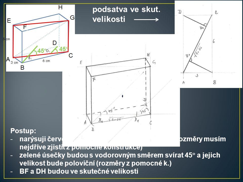 Postup: -narýsuji červený obdélník ve skutečné velikosti (rozměry musím nejdříve zjistit z pomocné konstrukce) -zelené úsečky budou s vodorovným směre