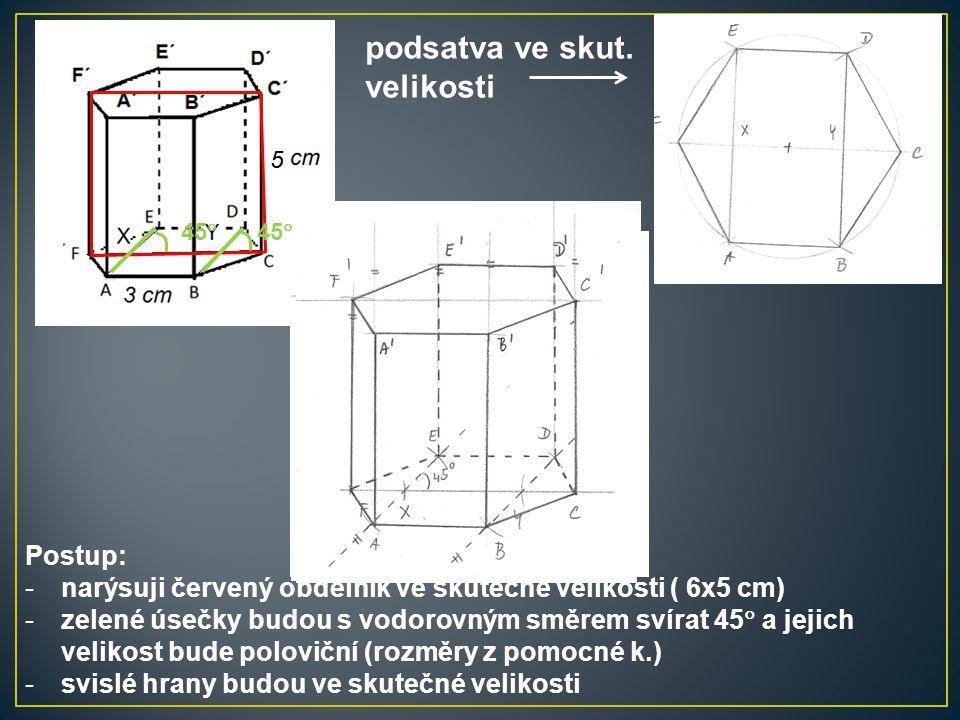 Postup: -narýsuji červený obdélník ve skutečné velikosti ( 6x5 cm) -zelené úsečky budou s vodorovným směrem svírat 45  a jejich velikost bude polovič