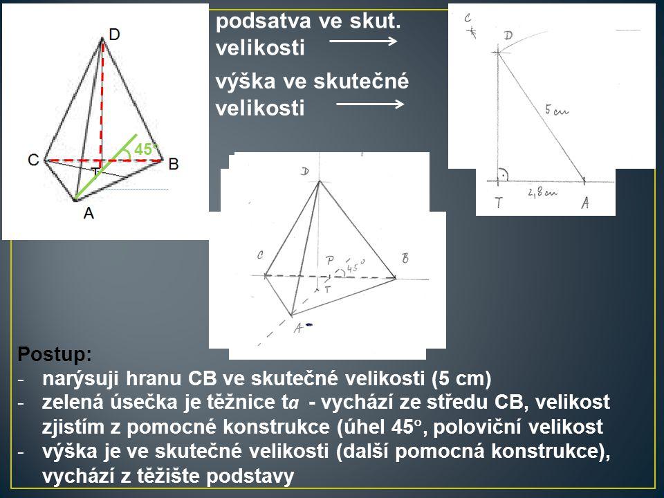 Postup: -narýsuji hranu CB ve skutečné velikosti (5 cm) -zelená úsečka je těžnice t a - vychází ze středu CB, velikost zjistím z pomocné konstrukce (ú