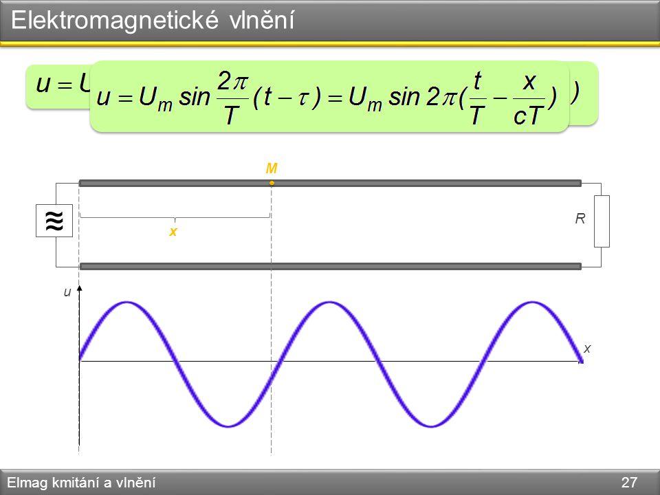 Elektromagnetické vlnění Elmag kmitání a vlnění 27 ~ ~ ~ R M u x x