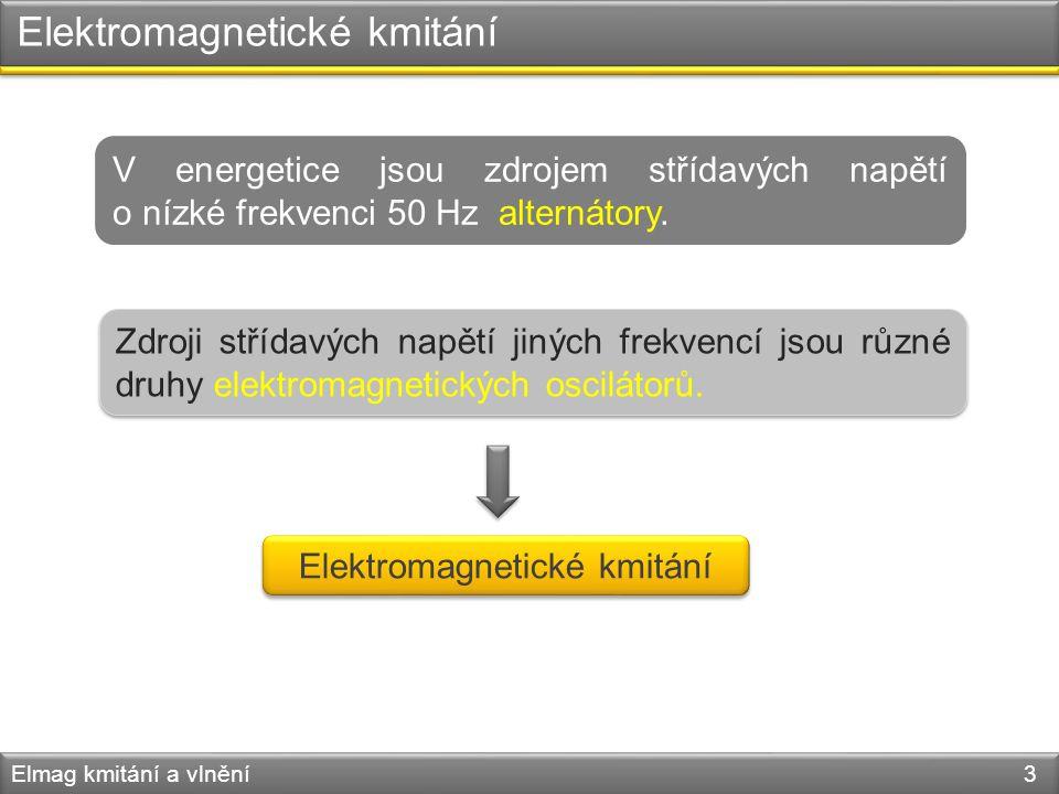 Elektromagnetické kmitání Elmag kmitání a vlnění 3 V energetice jsou zdrojem střídavých napětí o nízké frekvenci 50 Hz alternátory. Zdroji střídavých
