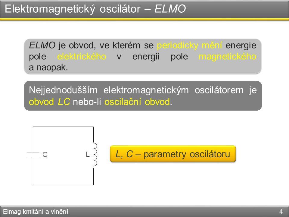 Elektromagnetický oscilátor – ELMO Elmag kmitání a vlnění 4 ELMO je obvod, ve kterém se periodicky mění energie pole elektrického v energii pole magne