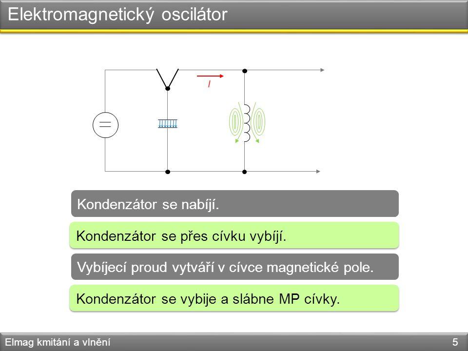 Elektromagnetický oscilátor Elmag kmitání a vlnění 5 Kondenzátor se nabíjí. Vybíjecí proud vytváří v cívce magnetické pole. Kondenzátor se přes cívku