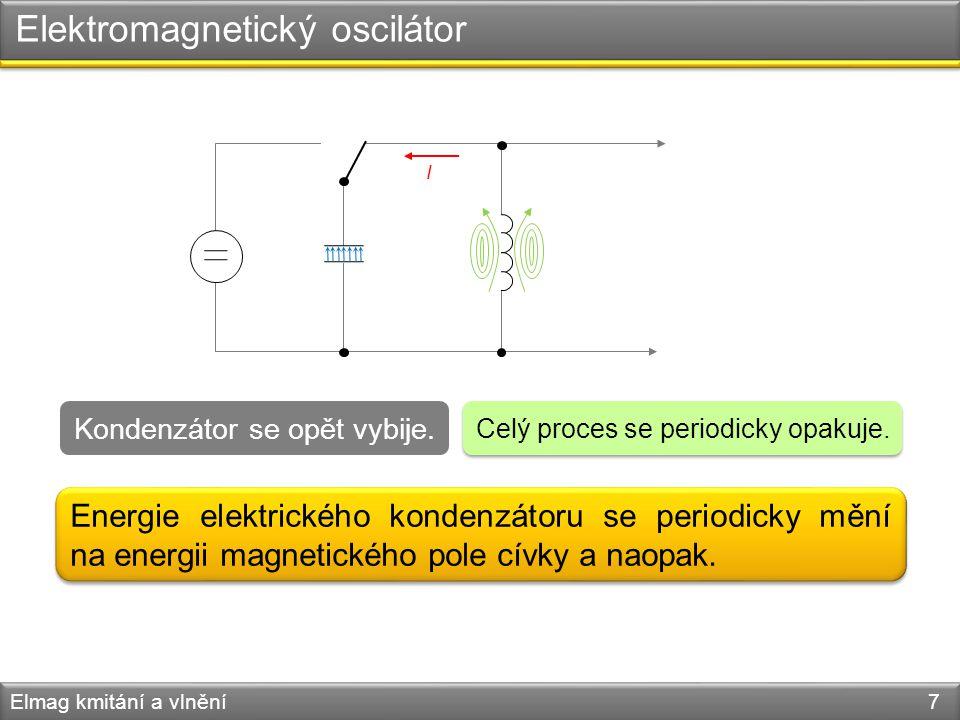 Elektromagnetický oscilátor Elmag kmitání a vlnění 7 Celý proces se periodicky opakuje. Kondenzátor se opět vybije. I Energie elektrického kondenzátor