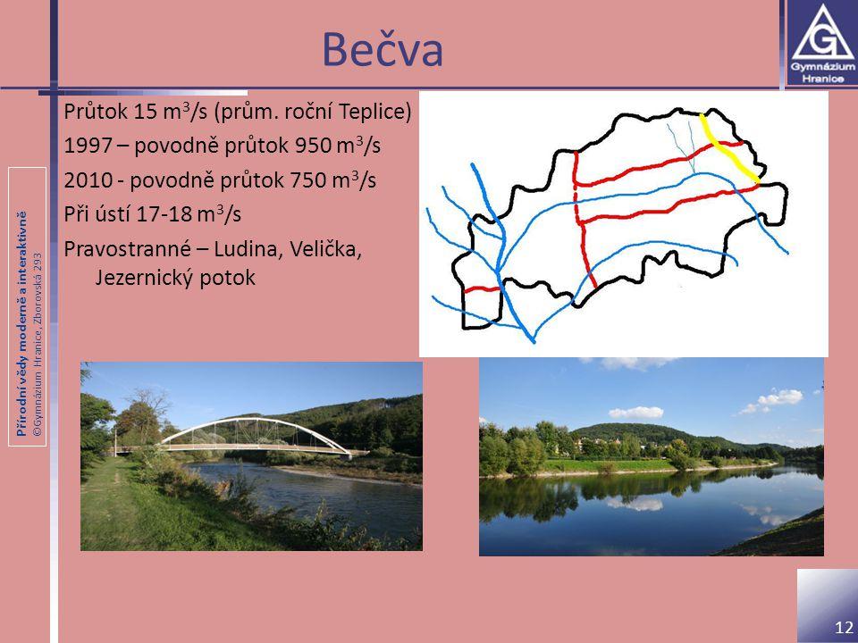 Přírodní vědy moderně a interaktivně ©Gymnázium Hranice, Zborovská 293 Bečva Průtok 15 m 3 /s (prům. roční Teplice) 1997 – povodně průtok 950 m 3 /s 2