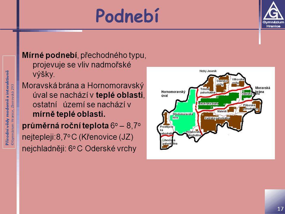 Přírodní vědy moderně a interaktivně ©Gymnázium Hranice, Zborovská 293 Podnebí Mírné podnebí, přechodného typu, projevuje se vliv nadmořské výšky. Mor