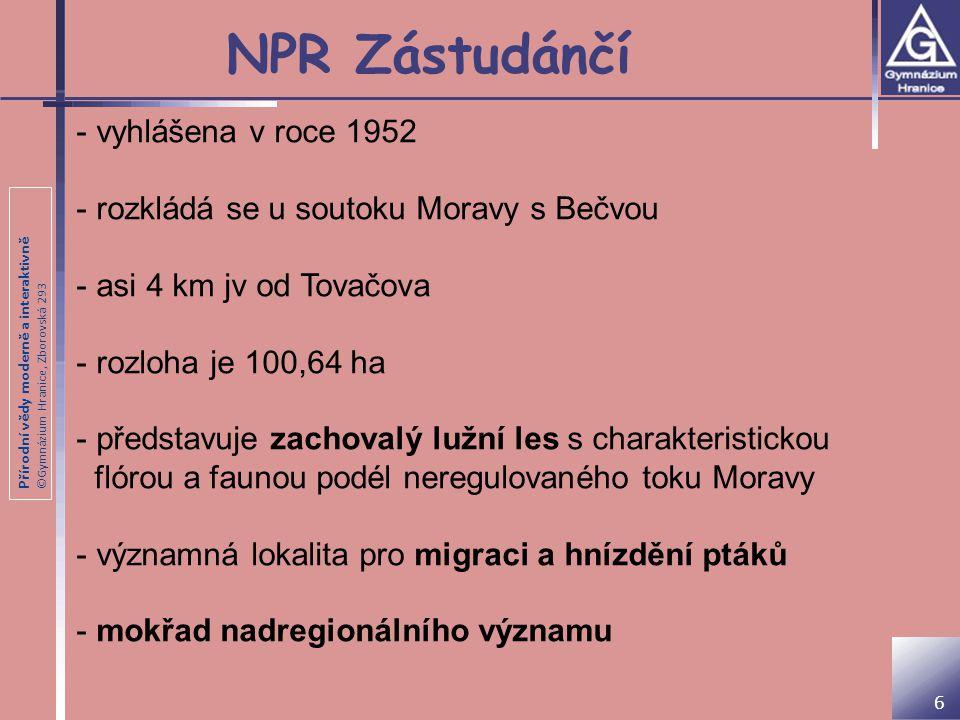 Přírodní vědy moderně a interaktivně ©Gymnázium Hranice, Zborovská 293 NPR Zástudánčí 6 - vyhlášena v roce 1952 - rozkládá se u soutoku Moravy s Bečvou - asi 4 km jv od Tovačova - rozloha je 100,64 ha - představuje zachovalý lužní les s charakteristickou flórou a faunou podél neregulovaného toku Moravy - významná lokalita pro migraci a hnízdění ptáků - mokřad nadregionálního významu