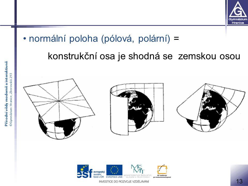 Přírodní vědy moderně a interaktivně ©Gymnázium Hranice, Zborovská 293 normální poloha (pólová, polární) = konstrukční osa je shodná se zemskou osou 1