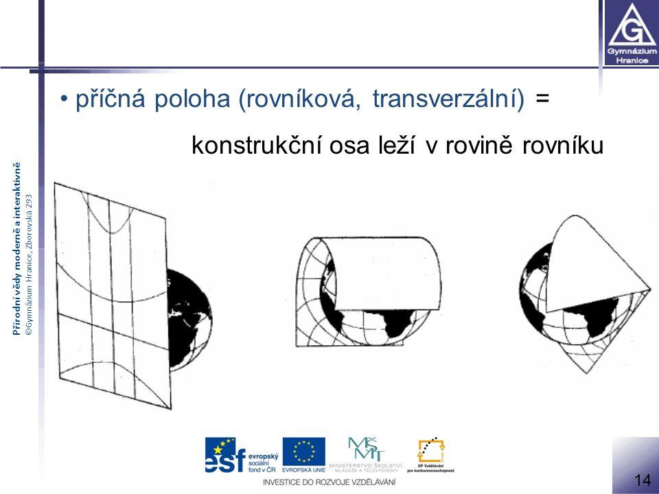 Přírodní vědy moderně a interaktivně ©Gymnázium Hranice, Zborovská 293 příčná poloha (rovníková, transverzální) = konstrukční osa leží v rovině rovník
