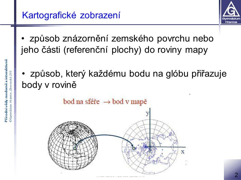 Přírodní vědy moderně a interaktivně ©Gymnázium Hranice, Zborovská 293 Kartografické zobrazení způsob znázornění zemského povrchu nebo jeho části (ref