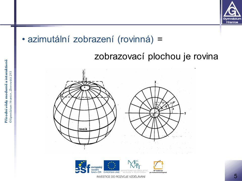 Přírodní vědy moderně a interaktivně ©Gymnázium Hranice, Zborovská 293 azimutální zobrazení (rovinná) = zobrazovací plochou je rovina 5