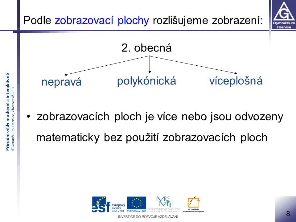 Přírodní vědy moderně a interaktivně ©Gymnázium Hranice, Zborovská 293 2. obecná zobrazovacích ploch je více nebo jsou odvozeny matematicky bez použit