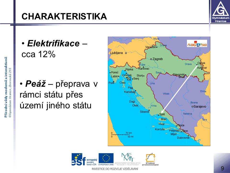 Přírodní vědy moderně a interaktivně ©Gymnázium Hranice, Zborovská 293 Peáž – přeprava v rámci státu přes území jiného státu 9 CHARAKTERISTIKA Elektrifikace – cca 12%