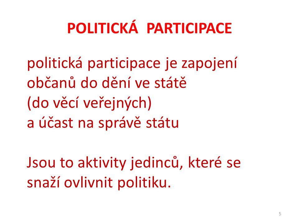 POLITICKÁ PARTICIPACE 5 politická participace je zapojení občanů do dění ve státě (do věcí veřejných) a účast na správě státu Jsou to aktivity jedinců