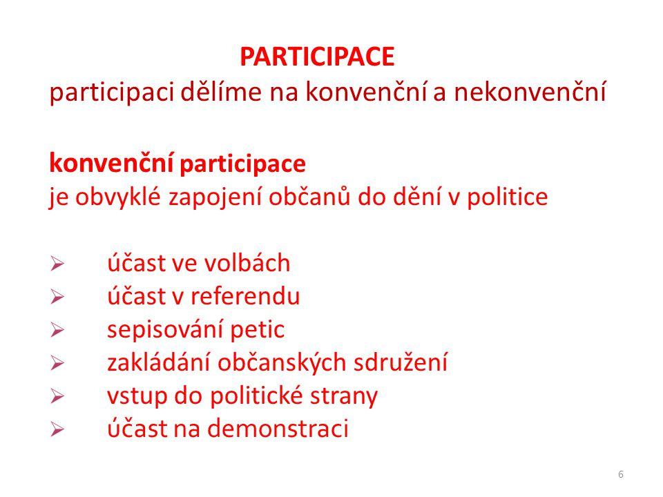 6 PARTICIPACE participaci dělíme na konvenční a nekonvenční konvenční participace je obvyklé zapojení občanů do dění v politice  účast ve volbách  ú