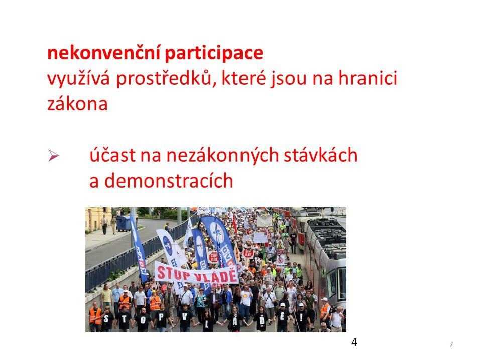 7 nekonvenční participace využívá prostředků, které jsou na hranici zákona  účast na nezákonných stávkách a demonstracích 4