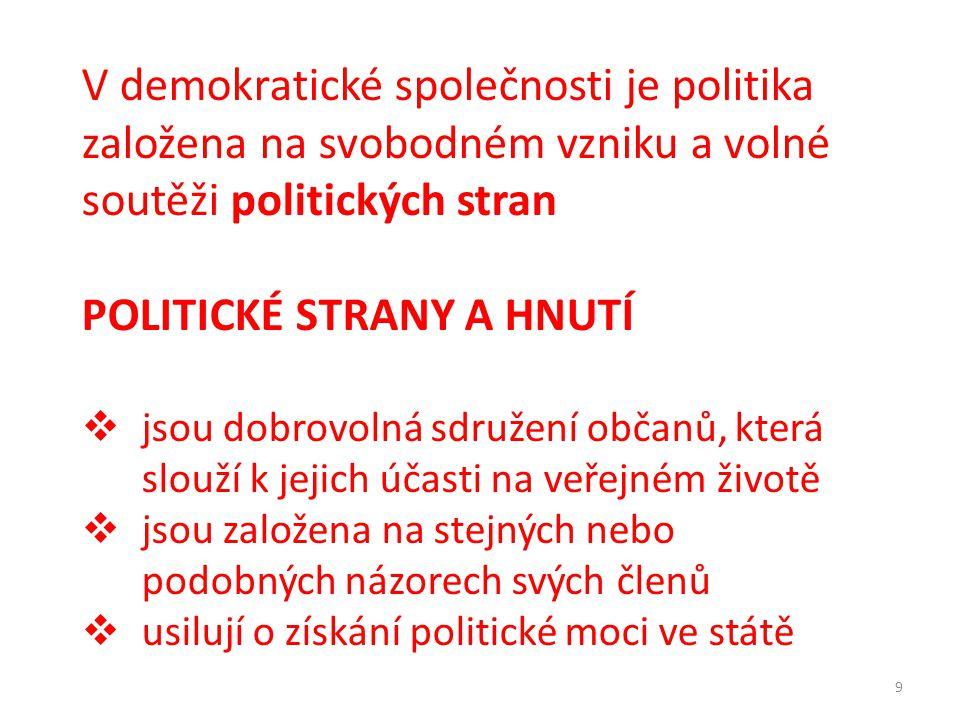 9 V demokratické společnosti je politika založena na svobodném vzniku a volné soutěži politických stran POLITICKÉ STRANY A HNUTÍ  jsou dobrovolná sdr