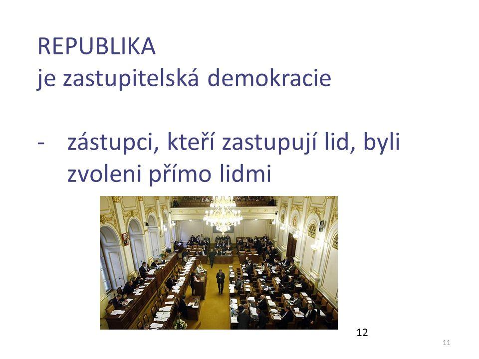 11 REPUBLIKA je zastupitelská demokracie -zástupci, kteří zastupují lid, byli zvoleni přímo lidmi 12